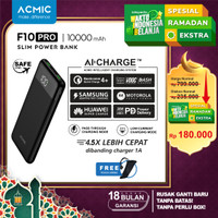 ACMIC F10PRO 10000mAh AiCharge Slim Digital Power Bank QC4 + PD + VOOC - F10Pro No Kabel