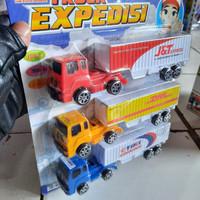 Mobil truck treler kontainer expedisi kurir angkutan barang mainan