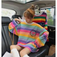 atasan wanita monokrom salur bunga kulot baju korea aksesoris vintage