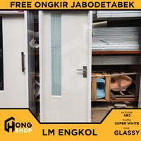 Pintu Kamar Mandi PVC TEBAL + KACA ES - LM Super White GLASSY ENGKOL