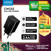 ACMIC CWC02 - Dual USB Wall Charger Adaptor Fast Charging 2.4A - CWC02 Only