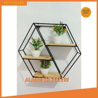 Rak Dinding Besi Dekorasi Minimalis Vintage Hexagon Jatibelanda