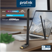 Wireless USB Adapter 6dBi Antenna PROLiNK DH5103U AC650 Dual Band