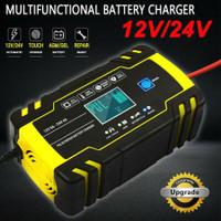 Charger Aki Mobil Motor 12V 24V 140W 6-150Ah Cajer Accu LCD Foxsur Cas