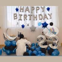 Paket Dekorasi Balon Ulang Tahun / Happy Birthday Silver 09