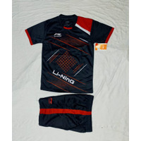 Baju stelan anak pria/wanita kaos olahraga badminton kaos bulutangkis - Hitam, M