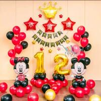 Paket Dekorasi Balon Ulang Tahun Happy Birthday Mickey Minnie Mouse 05