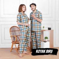 Piyama Couple / Baju Tidur Pasangan Dewasa Pria Wanita Kotak Biru