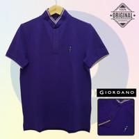 Size L-LD104 Giordano Original POLO SHIRT PRIA KAOS KERAH Ungu Cowo