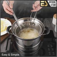 ES Panci Set Deep fry Panci Stainless Steel Panci Saringan Steamer - Versi Besar