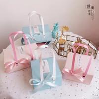 Gift Box Dengan Gagang/Kotak Hamper/Dus Kue - Biru Muda, (GB11) Kecil