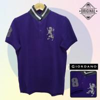 Size L-LD104 Giordano Original POLO SHIRT PRIA KAOS KERAH Cowo Ungu