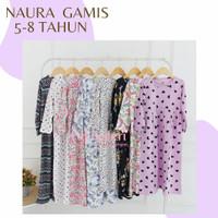 5-8 Thn Naura Gamis Anak Motif - Baju Muslim Anak Perempuan Kaos Katun
