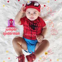 Baju Jumper bayi spiderman jumpsuit baby one piece romper