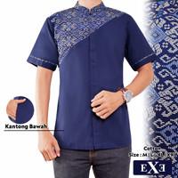 Baju Koko Muslim Pria Rommy - Biru Dongker Navy Kombinasi Batik