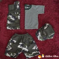 ChikuNiku Baju Anak Army 3 in 1 Rompi Topi Loreng Putih-Abu-Cokelat