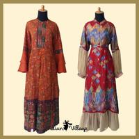 Baju Gamis Sari India Ori (Syari /Dress / Long Dress /Muslim / Abaya ) - Red Motif 1, S