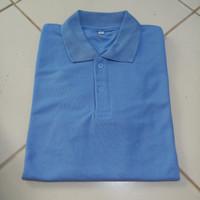 baju kaos polos polo shirt berkerah baju lacos pria wanita-biru langit - M