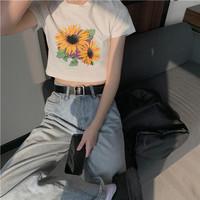kaos crop tee tees t shirt wanita model korea tumblr cotton 100% murah