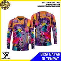 Baju kaos Jersey Sepeda Gowes Wanita Lengan Panjang Full Print m22
