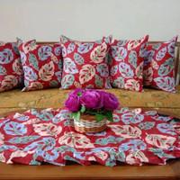 Set Sarung Bantal Sofa isi 5 dan Taplak Meja Janda bolong