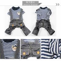 (B62) Baju kaos jumpsuit kostum denim anjing kucing hewan pet clothes