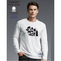 Kaos Distro Lengan Panjang / Kaos HIP HOP / Kaos Sunmori Pria - Putih, M