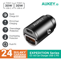 Charger Mobil Aukey CC-A3 2 Port USB-C & USB A With PD & QC - 500787
