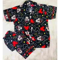Stelan Piyama / Baju Tidur Anak Dan Remaja Katun Mickey Mouse