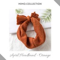 April Bow Baby Headband cotton pita Bando Bandana Turban Anak Bayi - Orange