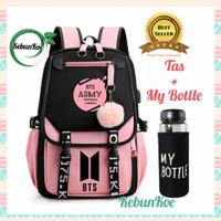 Tas Backpack Wanita Model BTS Kpop untuk Sekolah Anak Perempuan - Hitam Pink