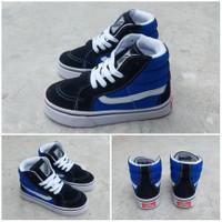 Sepatu Anak Vans Sk8 Premium High Black Blue Lengkap Box