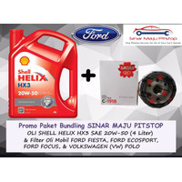 Paket Oli SHELL HELIX HX3 20W-50 & Filter Mobil FORD FOCUS & VW POLO
