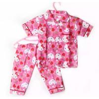 HELLO KITTY MANIS Setelan Piyama / Baju Tidur Anak Dan Remaja Katun - Merah Muda, S