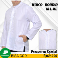 Baju Koko Pria Putih Lengan Panjang Bordir Special Ramadhan Lebaran