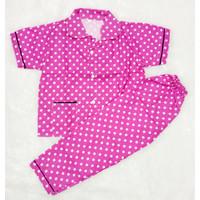 SWEET POLKADOT Setelan Piyama / Baju Tidur Anak Dan Remaja Katun - Merah Muda, S
