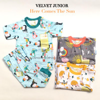 Piyama Bayi Velvet Junior Baju Tangan Pendek Celana Panjang SML