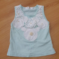 Baju kaos anak bayi perempuan brukat mutiara import