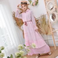 Baju Gamis Maxy Wanita Muslimah Estetika Dress Sifon Ceruty 2 puring