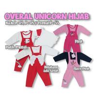 Baju Muslim Anak Bayi Perempuan Overall Unicorn Sayap Set Hijab 9-12 M