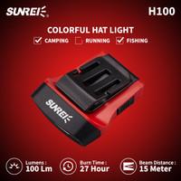 Lampu Kepala Headlamp Sunrei H100 100 Lumens IPX5 Hat Clip Topi - Merah