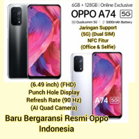 Oppo A74 (5G) (6 GB/128 GB) (NFC) Selfie Office Style (Garansi Resmi)