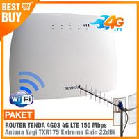 PAKET MODEM WIFI 4G Tenda 4G03 Router & Antena Yagi Grid Extreme Gain