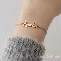 Luna Kitsune Gelang 18K Emas Gold Wanita Custom Nama