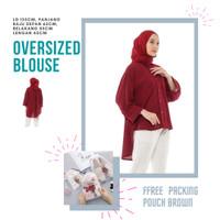 Baju Atasan Wanita Lengan Panjang Blouse Tunik Jumbo Oversized Wolfis - red