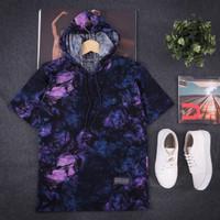 Kaos hoodie lengan pendek galaxy ungu pria wanita terbaru - Ungu, M
