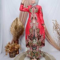 Stelan Kebaya Gamis Tafeta Bordir Modern Baju Pesta Wanita Muslim - Pink Fanta 3, M