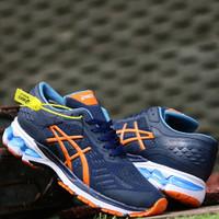 Sepatu Olahraga Pria Volly Badminton Kayano 24 Import Quality - Navy Orange, 38