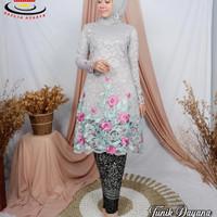 Stelan Kebaya Brukat Tunik Bordir Baju Brokat Wanita Modern - Silver, M