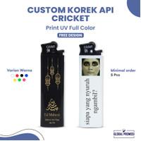 Cricket Custom Korek Api Lighter Promosi Cetak UV Print Warna 1 Sisi